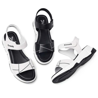 Sport Women Sandal Leather PU Material Flat-heeled Prevent Wear Foot Adjustable Velcro for Girl Shoes Summer