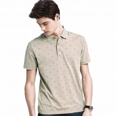 Male T-shirt Cotton Material Business Style Blouse, Peaked Lapel Stripe Printing Style Soft Casual Short Sleeve for Men POLO Shirt