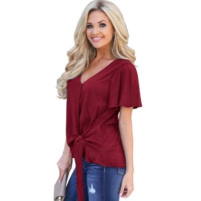 V-neck Lower T-shirt for Women in Summer 2019, Short Sleeve Hem Tying Knot Tees, Women Loose Top Dress