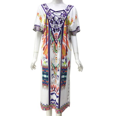 2019 Women One-piece Dress with Floral Prints, Fashionable Cozy Long Dress for Spring and Summer Large Size