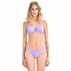 2019 Sexy Trim Fit Bikini for Young Girls, Light Purple Pure Sexy Split Design Swimwear Suit, Two-piece Separated Type Bikini