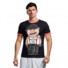 2019 New Sports Men's T-shirt, External Trade Fashionable Collarless Short Sleeve, Cartoon Printed Breathable Tees