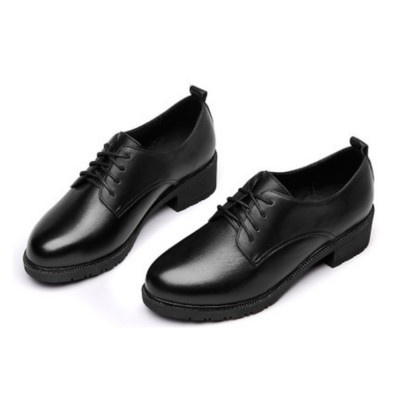 Leisure Leather Low Heel Shoes, Top PU Leather Material Thick Heel Shoes, Oxford Sole Women Shoes 2019 Spring