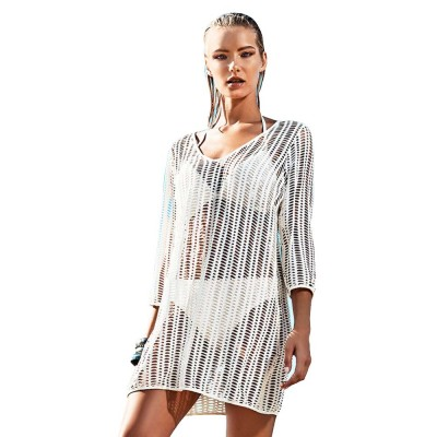 Beach Dress Hollows Outerwear for Swimsuit Bikini, Sun-proof Midi One-piece dress, Beach Wear Coat White 1 PCS