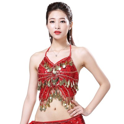 Belly Dance Uniform Camisole with Paillette, Nine Colors Sexy V Neck Bandage Sling Top Bar Performing Clothes