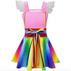 2019 New Fancy Nancy Cosplay Dress for Kids, Rainbow-color Fairy Dress for Girl