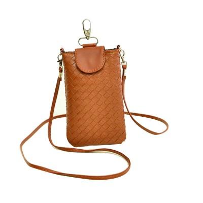 Mini Diagonal Mobile Phone Shoulder Bag, Woven PU Leather Small Slanting Bag for Phone, Cash, Card, Coins, Mini Casual Shoulder Bag