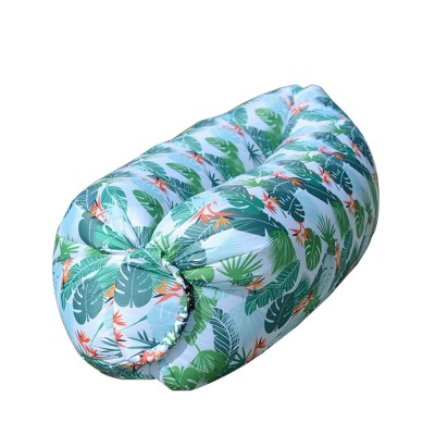 Leaf Pattern Printed Fast Inflatable Sofa Airbed for Outdoor Activity, Lazy Men Air Sofa Inflatable Couch Nap Airbed, Folded Portable Air Mattresses