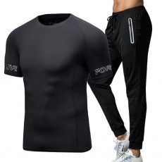 Quick-dry Fitness Clothing Suit for Male, Sports Breathable Two-piece Gym Outfit for Running, Hiking, Men's Sports Suit