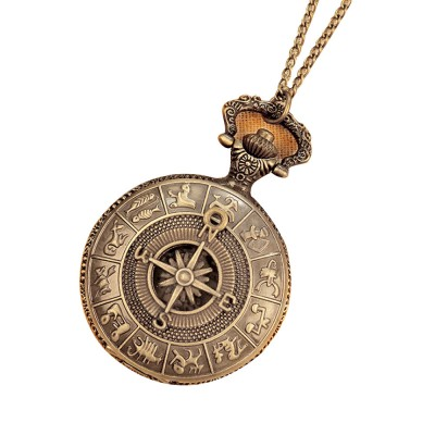 Large Size Pocket Compass with Twelve Constellation Pattern, Dial Plate Retro Style Compass, T-Pocketof Map Pattern Alloy Compass for Comping, Hiking