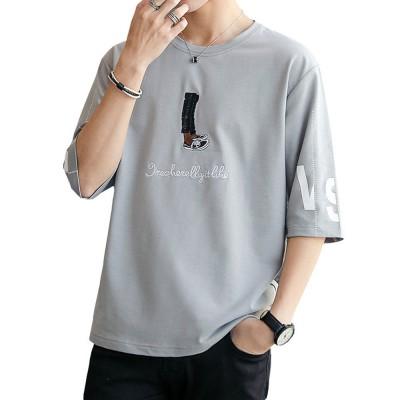 2019 Summer Fashion Cotton Pattern T-Shirt Men Cartoon with Short Sleeve Top Tees Gray