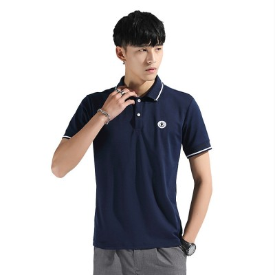 Embroidery T-shirt for Male Daily Wear 2019 Summer, Casually Turn-down Collar Top for Students, Youth Man All-match Polo Shirt
