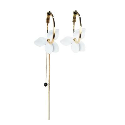 925 Silver Earrings, Fashion Asymmetric Long Pendant, Chic Gold Circle Hoop Seaside Holiday Style Flower Eardrop