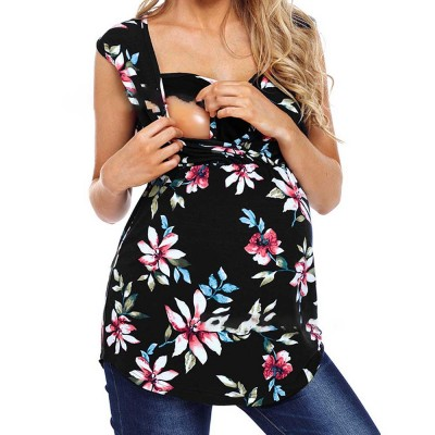 Pregnant Women Clothes, Fashion New Printing Women Vest, Cross Breastfeeding Maternity T-shirt