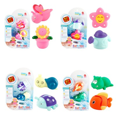 Baby Shower Bath Toys, Soft Silicone Floating Squeeze Water Spray Bathtub, Cartoon Animals Bathing Toys