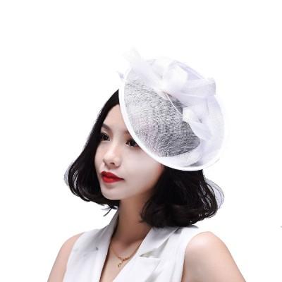 Women Headdress, Horse Riding Yarn Bowknot Feather Top Hat, Banquet Wedding Accessory Headwear