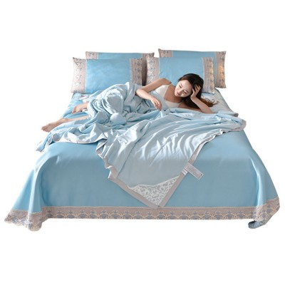 Summer Cool Quilt Sleeping Mat, Pillowcase Set for Summer, Home Design Polyester and Ice Silk Material 3 pcs or 4 pcs Bedding
