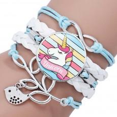 Woven Bracelet for Children, Glass Leather Cartoon Cute Unicorn Pegasus Bangles, Gem Multilayer Buckle Bracelet