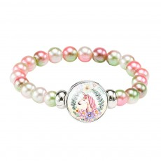 Lovely Unicorn Bracelet for Children Creative Fashion Cartoon Accessory Colorful Beads Jewelry Birthday Gift