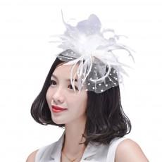 Women Dots Mesh Hair Clasp Hat, European and American Dancing Parties Fashion Accessory Headwear, Elegant Feather Headdress
