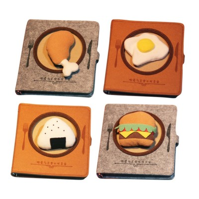 Stationery Creative Korea Japan Food Plate Diary,Loose-leaf Material Thick Blanket Soft Fleece Journal Notebook