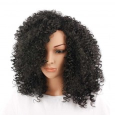Delicate Short Fashion Kinky Curly Wig for Women, Tough High-temperature Wire Synthetic Hair for Ladies