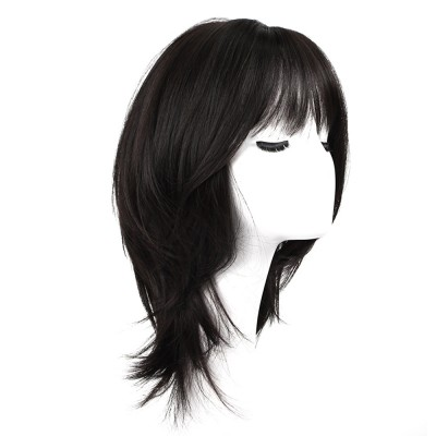 Cut Black Sanded High-temperature Wire Medium-Length Wig, Stylish Fashion Slightly Curled Hairpiece for Women