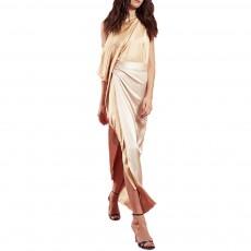 Sloping Shoulder Women Dress, Sexy Fashion Champagne Irregular Casual Dress, High Slit Short Sleeve Elegant Dress 2019 New