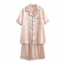 Couple Nightclothes Suit, Polyester Material Silky Feeling Soft Pajamas, Skin-friendly Nightgown Short Sleeve Shirts Pants, Breathable Nightdress for Couples Summer