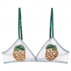 Pineapple Daisy Pattern Sexy Brassiere for Hot Summer, High Quality Transparent Cool Gauze Bra for Young Girl