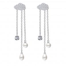 Women's Luxury Cloud Shape Sterling Silver Earrings, Dangling Temperament Pearl Long Pendant, Irregular Elegant Earring