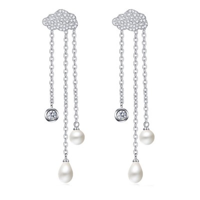 Women's Luxury Cloud Shape Sterling Silver Earrings, Dangling Temperament Pearl Long Pendant, Irregular Elegant Earring