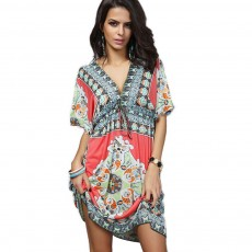 Women's Sexy Dress, Summer V-neck Bohemian Floral Printed Mini Dress, Knee High Dress with Belt for Gifts