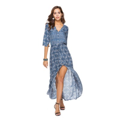 Women Floral Printed Maxi Dress, Deep V-neck Long Beach Dresses, Bohemian Side Split Dresses with Buttons