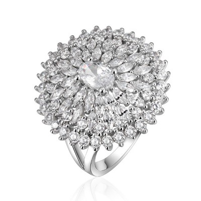 Retro Women's Ring, Big Flower Sterling Silver Rhinestone Rings, Women Fashion Jewelry Accessories for Gifts