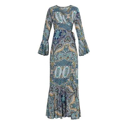 Women Large Size Long Dress, Floral Printed Maxi Dress Deep V-neck Irregular Dresses, Beach Dresses Bohemian Side Split Dresses