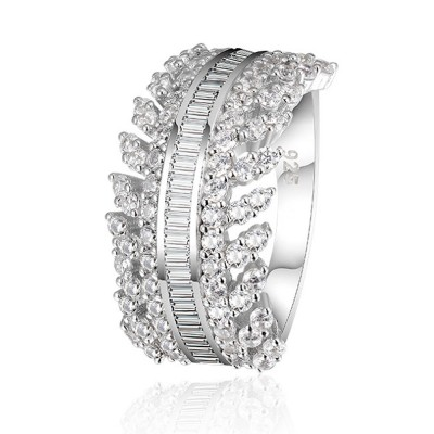Women's Full Diamond Sterling Silver Jewelry Ring, 925 Sterling Silver Round Cut Crystals Rings for women