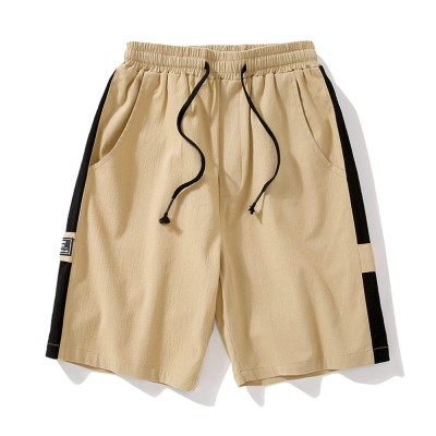 Men's Cotton Casual Shorts with Elastic Waist Drawstring, Classic Fit Short Summer Beach Shorts for Youth Men