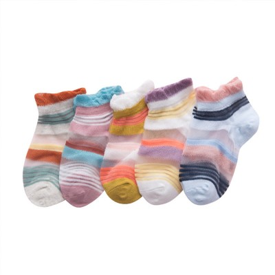 5 Pairs Baby Boy Girl Ankle Socks, Anti Slip Non Skid Breathable Cotton Summer Socks, Cute Cat Pattern Kids Accessories