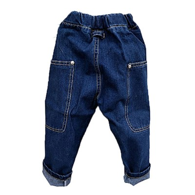 Toddler Kids Pure Cotton Denim Jeans, Breathable Warm Baby Fall Pants with Big Pockets, Baby Loose Pants