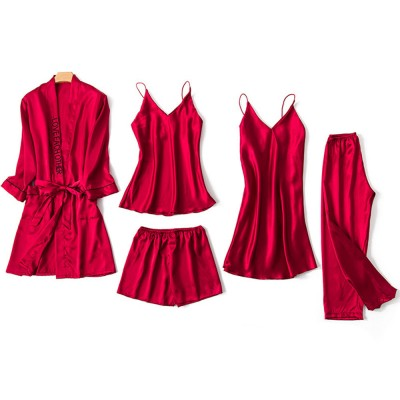 Sexy Pajama Five-piece Set, Korean Version of Women's Pyjamas with Suspenders, Thin Nightgown Style Household Clothes