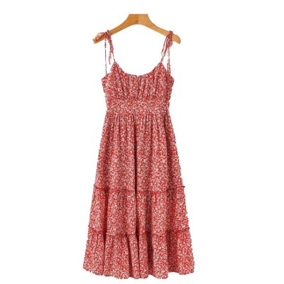 Women Sling Dress Summer Sleeveless Pleated Floral Print Swing Dress High Waisted Dress Best Gifts for Women