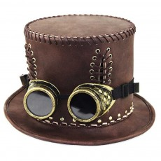 Unisex Steampunk Top Hat Retro Punk Rustic PU Leather Lace Up Punk Gentleman Hat for Costumes, Halloween Party