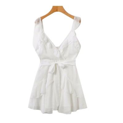 Women Summer Mini Dress Ruffle V-neck Side Split Sleeveless Boho Dress High Waist Tie A Line Sweat Beach Dresses Best Gifts for Women