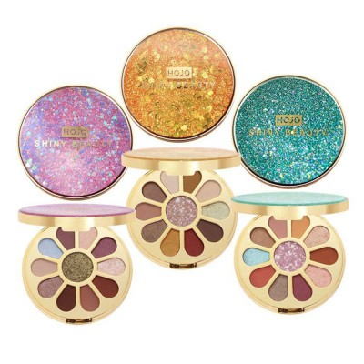 11 Colors Round Eyeshadow Palette, Shiny Palette with Brush, Makeup Tools Best Gifts for Lady, Shimmer Eyeshadow