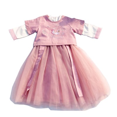 Chinese Dress for Baby Girl, Retro Improved Cheongsam Costume, Genuine Original Embroidered Tops+Tutu Dress