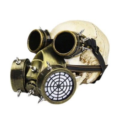 Steampunk Gas Mask Rivet Goggles Resin Skeleton Warrior Death Mask Masquerade Cosplay Accessories for Halloween Party Gift