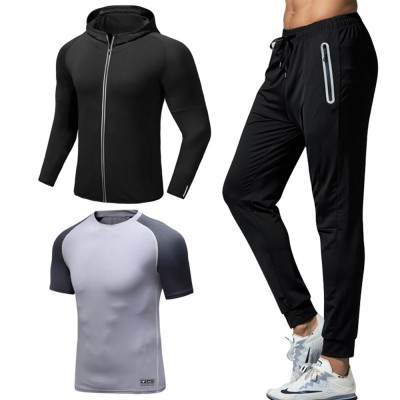 Men 3 Pieces Sports Suits Zip Up Hoodie Slim Fit Workout Hooded Sweatshirts with Zipper Pockets