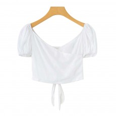 Women's Sexy Open Back Tank Tops Short Breathable Bandage Design Summer T-shirts Pure Color Tee for Women