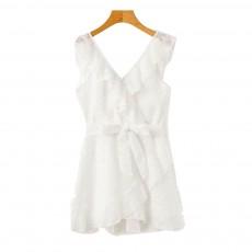 Women Summer Mini Dress, Ruffle V-neck Side Split Dress High Waisted, Beach Dresses for Women